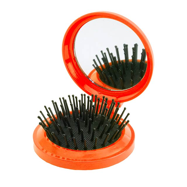 Mirror with hairbrush - orange