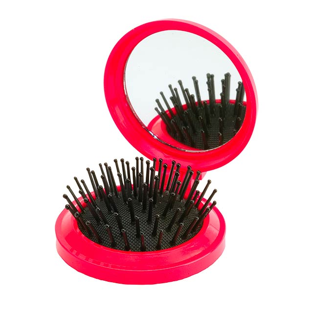 Mirror with hairbrush - red