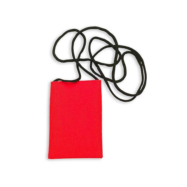 Ozores pouzdro na mobilní telefon se šňůrkou - červená