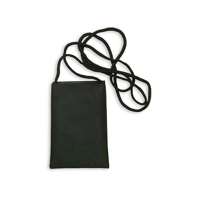 Ozores pouzdro na mobilní telefon se šňůrkou - černá