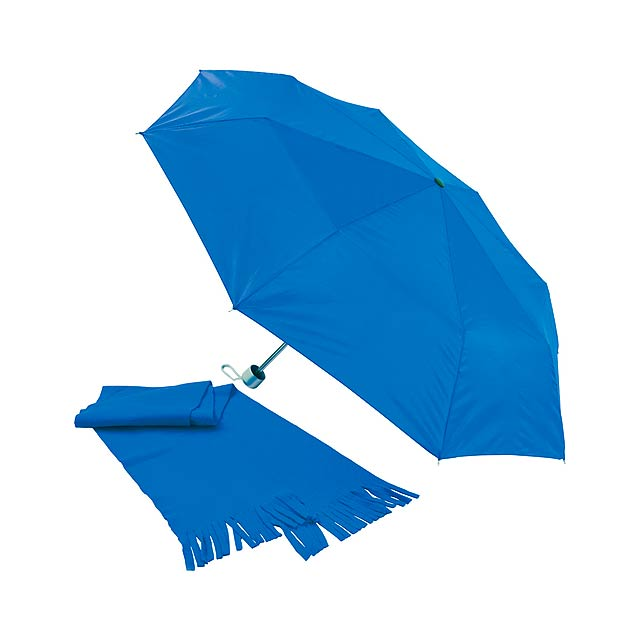 Bitem sada deštníku a šály - modrá