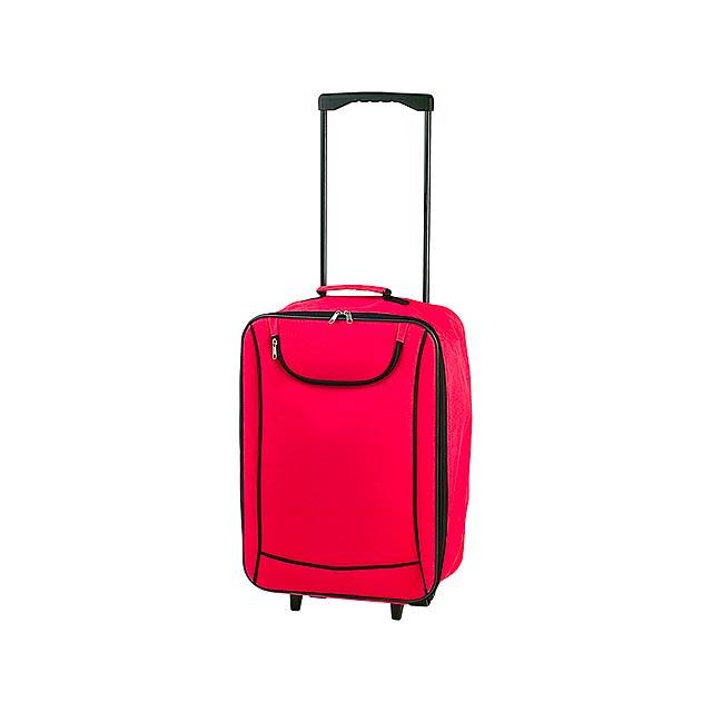 Soch kufřík na kolečkách - červená