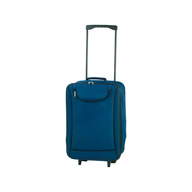 Soch kufřík na kolečkách - modrá
