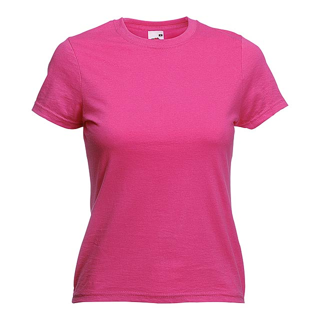 Dámské barevné tričko. 100% bavlna 165 g/m². - růžová - foto