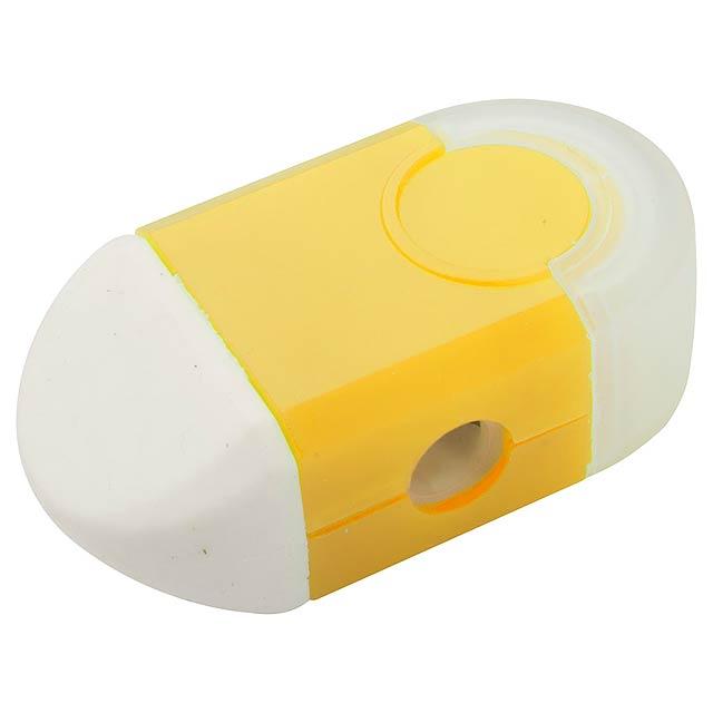 Cafey guma a ořezávátko - žlutá