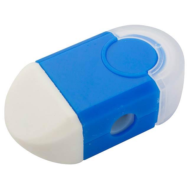 Cafey guma a ořezávátko - modrá