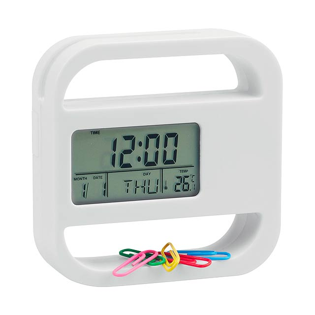 Soret stolní hodiny - biela