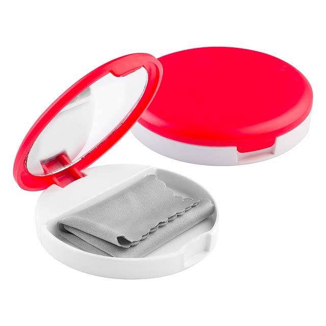 Senet stojánek na mobil se zrcátkem - červená
