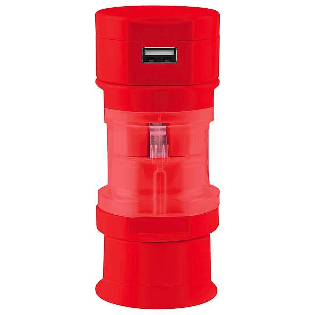 Tribox cestovní adaptér - červená