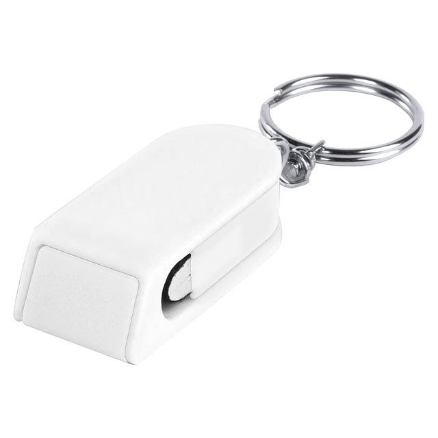 Satari stojánek na mobil s přívěškem na klíče - bílá