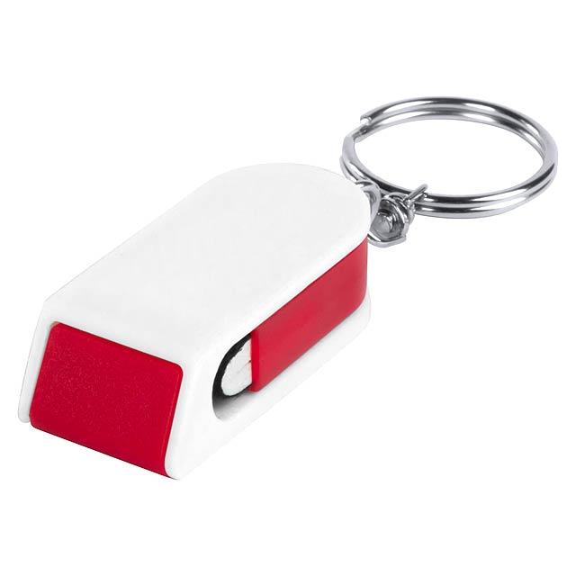 Satari stojánek na mobil s přívěškem na klíče - červená