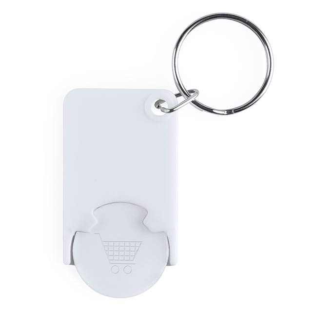 Trolley Coin Keyring - white