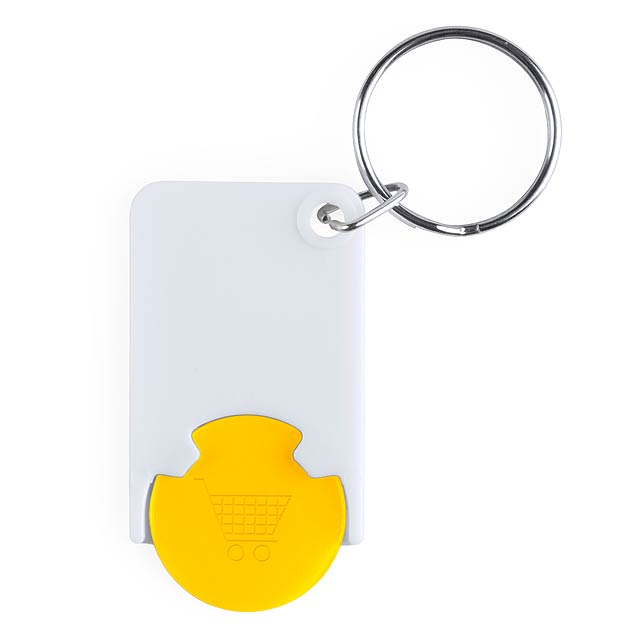 Trolley Coin Keyring - yellow
