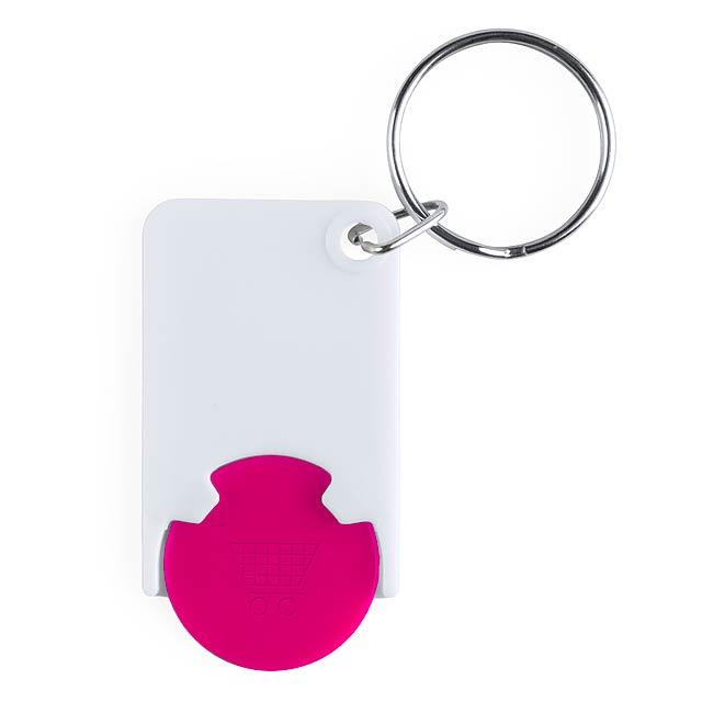 Zabax přívěšek na klíče se žetonem - fuchsiová (tm. růžová)