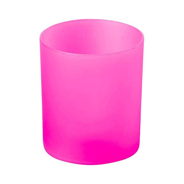 Fiobix svíčka se světlem - fuchsiová (tm. růžová)