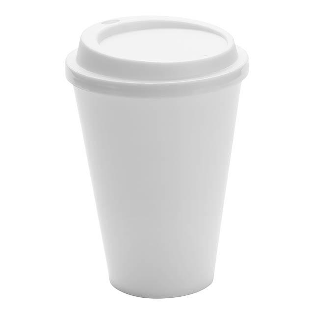 Kimstar uzavíratelný plastový pohárek - bílá