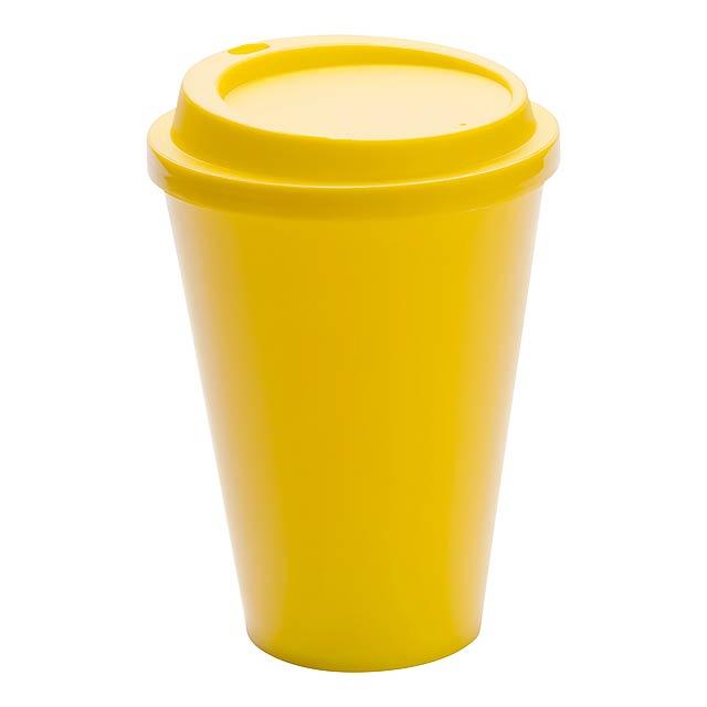 Kimstar uzavíratelný plastový pohárek - žlutá