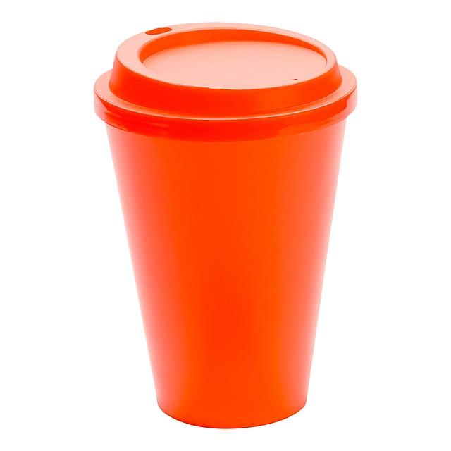 Kimstar uzavíratelný plastový pohárek - oranžová
