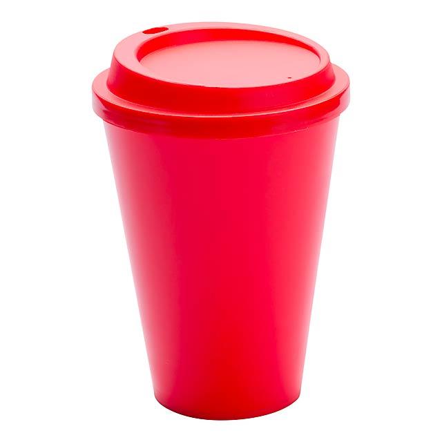 Kimstar uzavíratelný plastový pohárek - červená