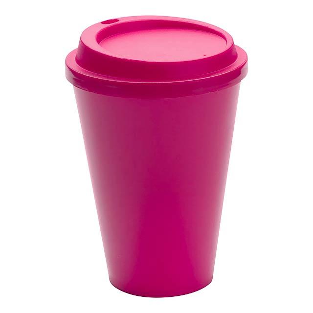 Kimstar uzavíratelný plastový pohárek - fuchsiová (tm. růžová)