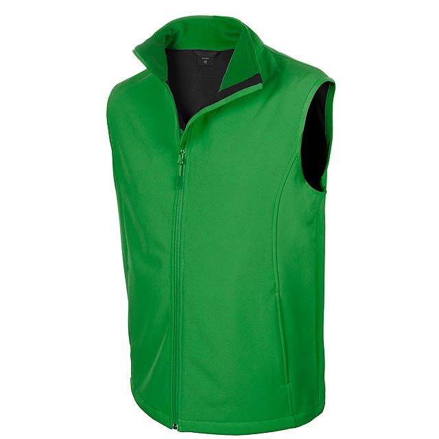 Pánská voděodolná a prodyšna softshellová vesta na zip, 94 % polyester, 6% elastan, 300 g/m². - zelená - foto