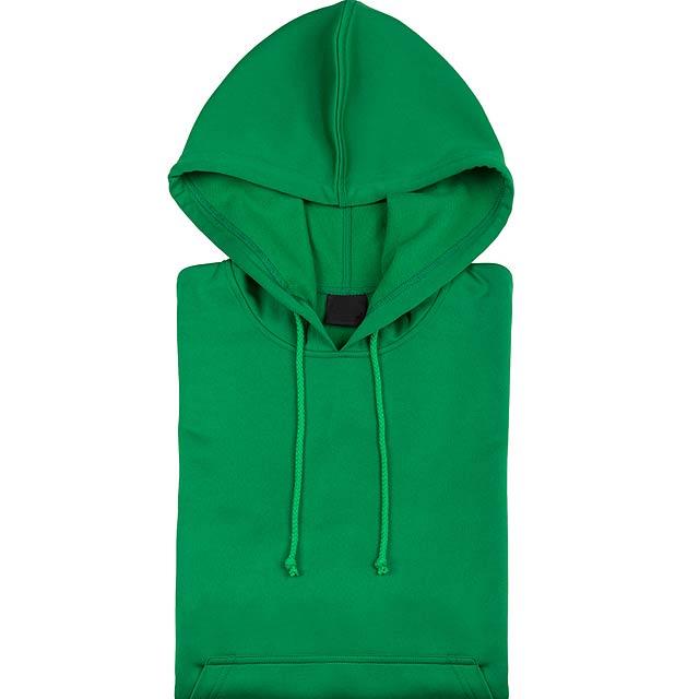 Raglánová mikina s kapucí, 100% polyester,265 g/m². - zelená - foto