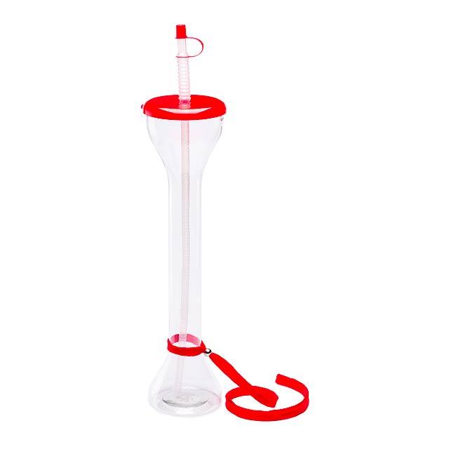 Partys uzavíratelný plastový pohárek - červená