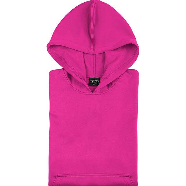 Raglánová mikina s kapucí, 100% polyester,265 g/m². - růžová - foto