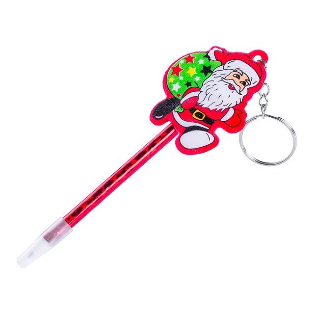 Zarki kuličkové pero s přívěškem na klíče - červená