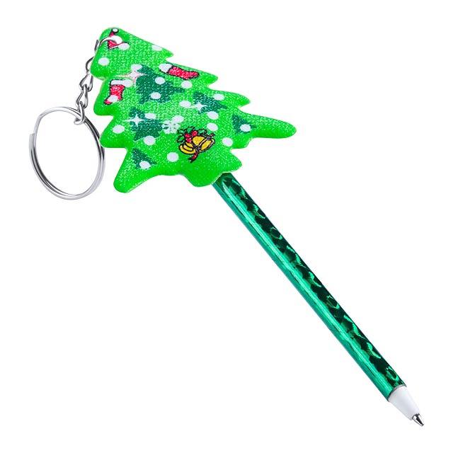 Zarki kuličkové pero s přívěškem na klíče - zelená