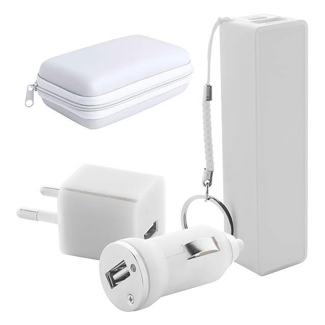 Rebex sada USB nabíječky a power banky - bílá