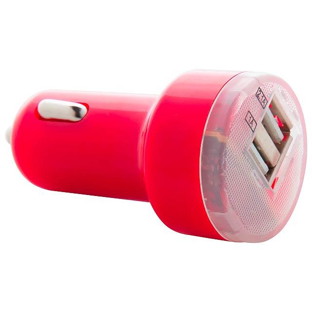 Denom USB nabíječka do auta - červená
