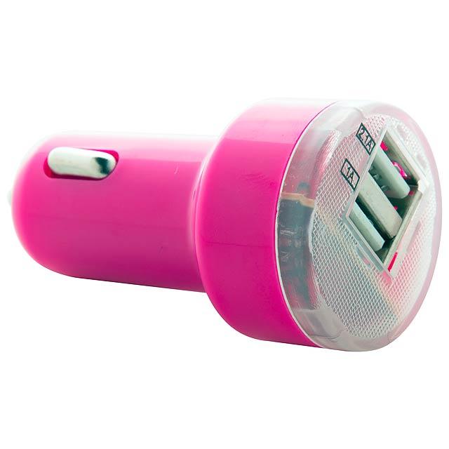 Denom USB nabíječka do auta - fuchsiová (tm. růžová)