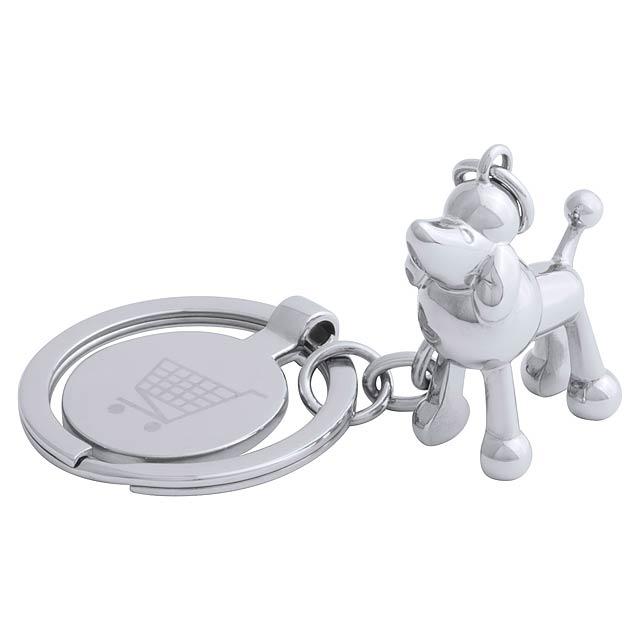 Hoinzo přívěšek na klíče se žetonem, pes - stříbrná