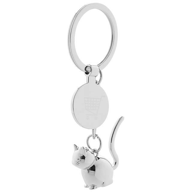 Hoinzo přívěšek na klíče se žetonem, kočka - stříbrná