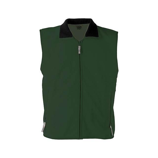 Fleecová vesta se zipem a dvěma bočními kapsami, 260gr. - zelená - foto