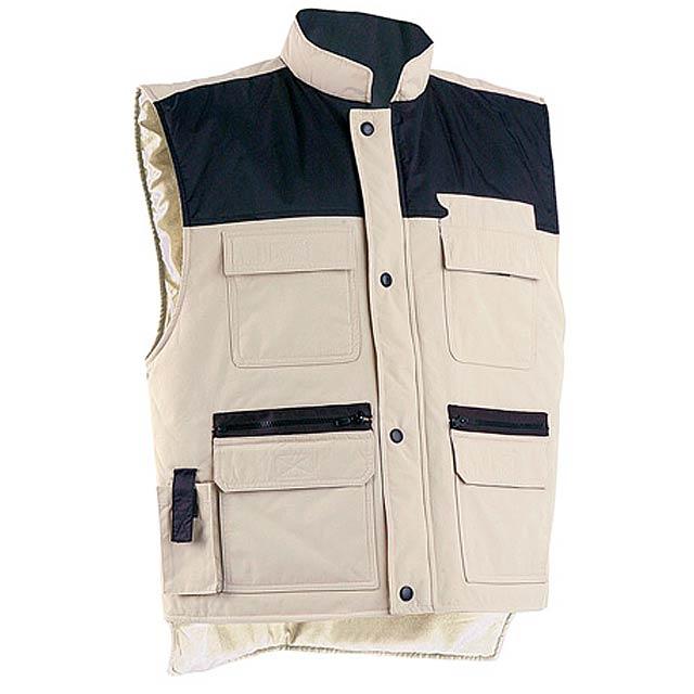 Zimní vesta se stojatým límcem,  mnoha předními kapsami. Materiál 100% polyester.  - béžová - foto