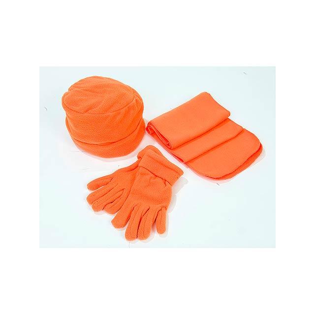 Glen souprava - čepice, šála, rukavice, 180 g - oranžová