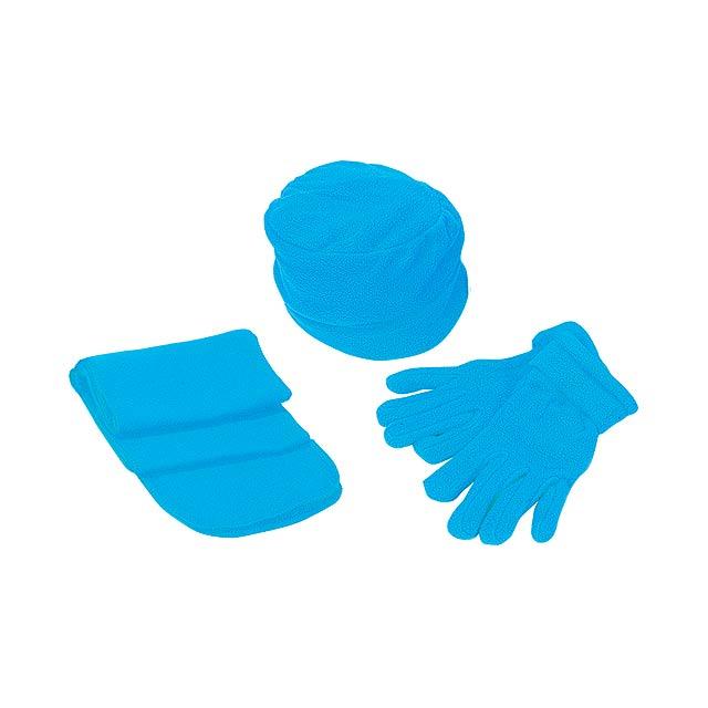 fce67dcb8 Súprava - čiapka, šál, rukavice, 180 g - modrá, Reklamné predmety ...