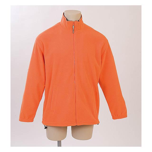 Fleecová bunda se zipem, dvěma bočními kapsami a stahovací šňůrkou na bocích a plastovými zarážkami, 280 g/m². - oranžová - foto