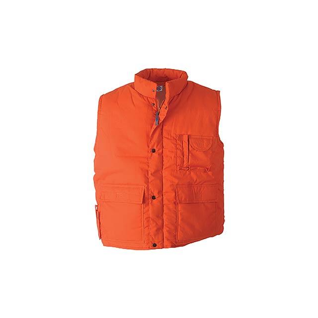 Vesta se stojáčkem a kapsami vepředu. Materiál: 35% bavlna, 65% polyester. - oranžová - foto