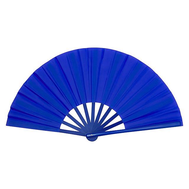 Velký textilní vějíř s plastovým držadlem. - modrá - foto