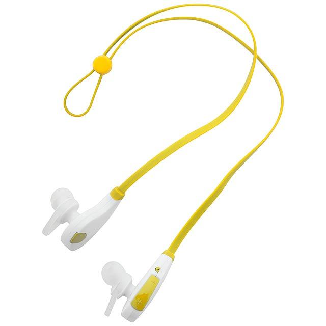 Bluetooth sluchátka do uší s funkcí handsfree a s dobíjecím USB kabelem. - žlutá - foto