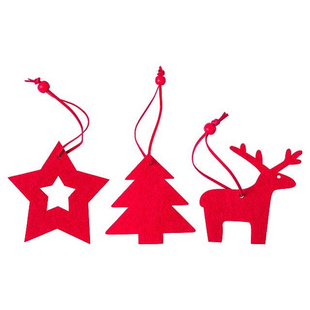 Stuck sada vánočních ozdob - červená