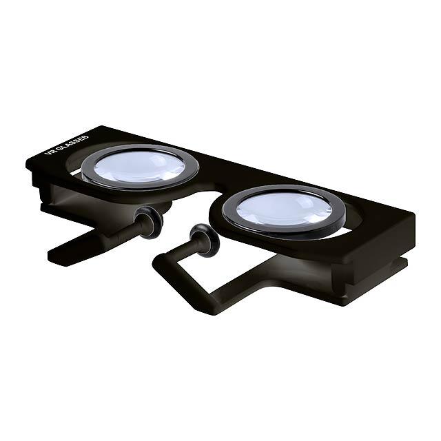 Plastové, skládací brýle pro virtuální realitu s nastavitelnými čočkami, v plastovém pouzdře. Podporuje chytré mobily s 4.5.-6.5. palcovým displejem. - černá - foto