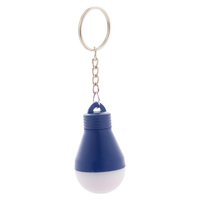 Plastová baterka ve tvaru žárovky s 1 LED světlem a kovovým přívěškem na klíče, vč. knoflíkové baterie. - modrá - foto
