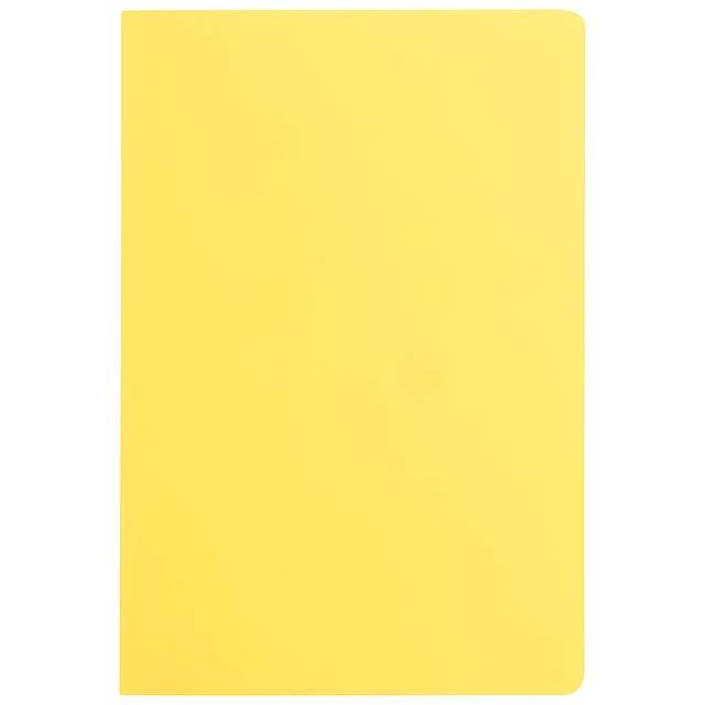 Blok se šitou vazbou s papírovými deskami se 40 nelinkovanými, čistými listy. - žlutá - foto