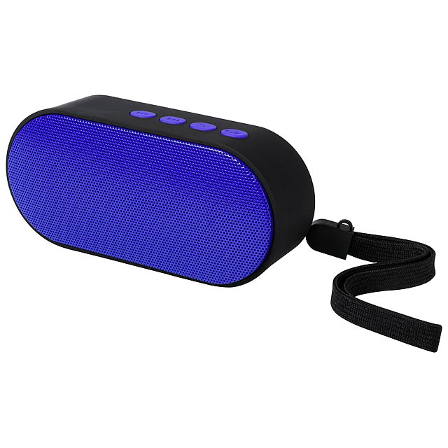 Bluetooth reproduktor s pogumovaným tělem, s funkcí handsfree a vestavěnou dobíjecí baterií. Vč. USB nabíjecího kabelu.  - modrá - foto