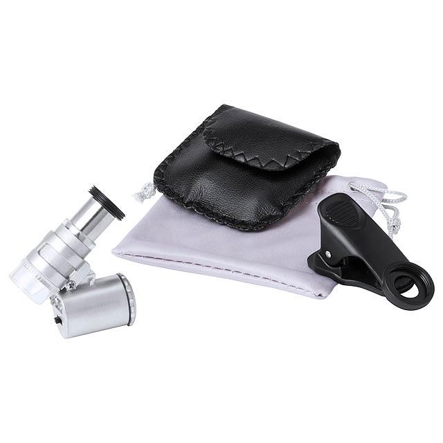Univerzální mikroskop pro mobily s 60x zvětšením a vestavěnými LED světly - normální/detektor bankovek. Vč. knoflíkové baterie a obalu z PU kůže. Materiál plast ABS/kov. - multicolor - foto