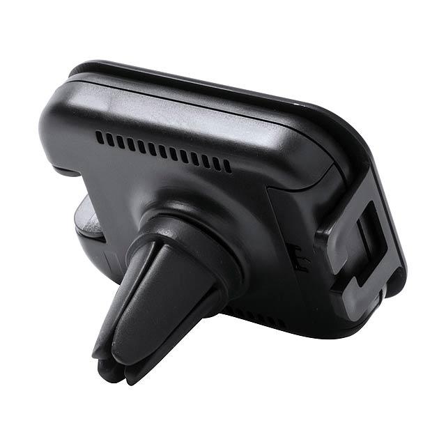 Osvěžovač vzduchu do auta a stojánek na mobil, připevnění do větrací mřížky. Citronová vůně.  - černá - foto